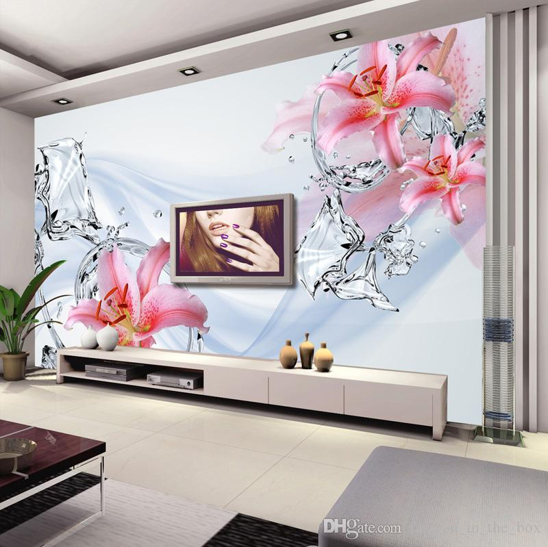 Modern Minimalis Wallpaper Bedroom Wall Murals Lily Water Flower ...