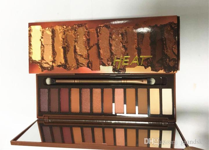 Новейшая тепловая палитра теней для век 12 цветов Профессиональный макияж Палитра теней для век с кисточками для макияжа Набор для макияжа DHL бесплатно