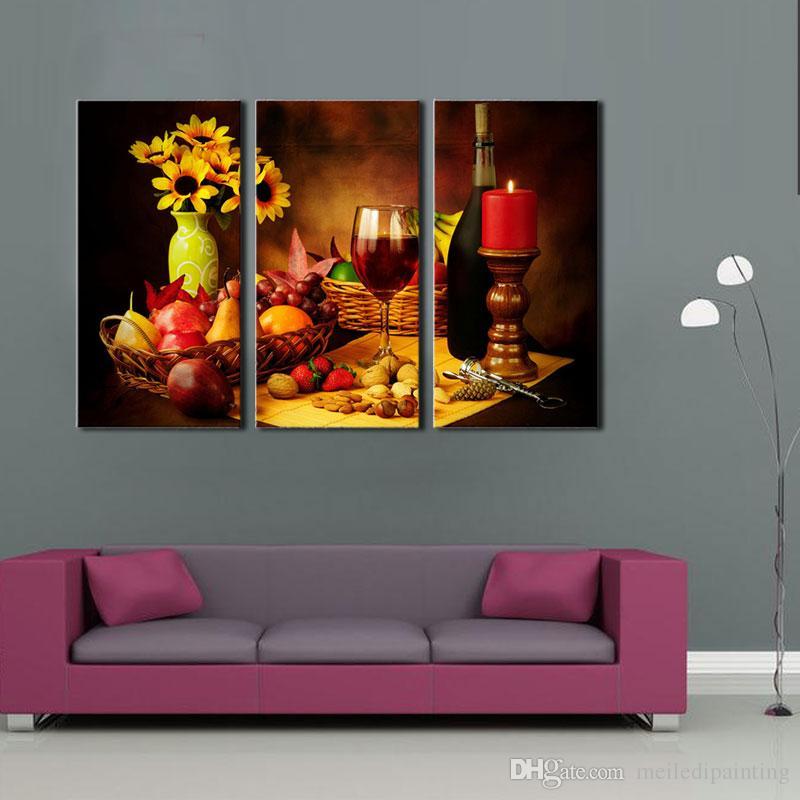 Satın Al 3 Parça Duvar Sanatı Boyama Meyve Ve Kırmızı şarap Yanında