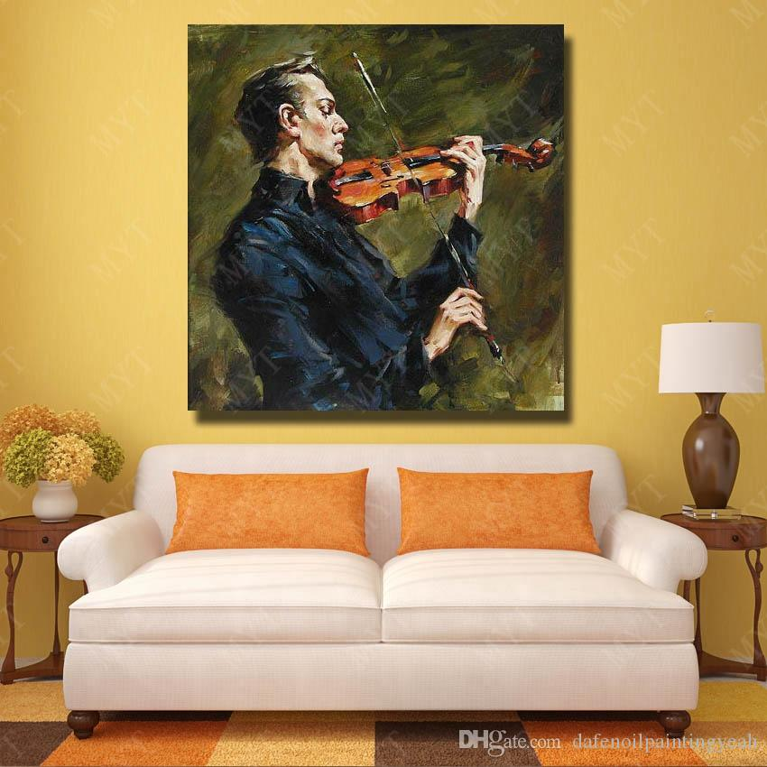 Wall Design The Man Play Violin Oil Painting for Living Room Decoration Modern Abstract Arylic Paintings on Canvas Single Set No Framed