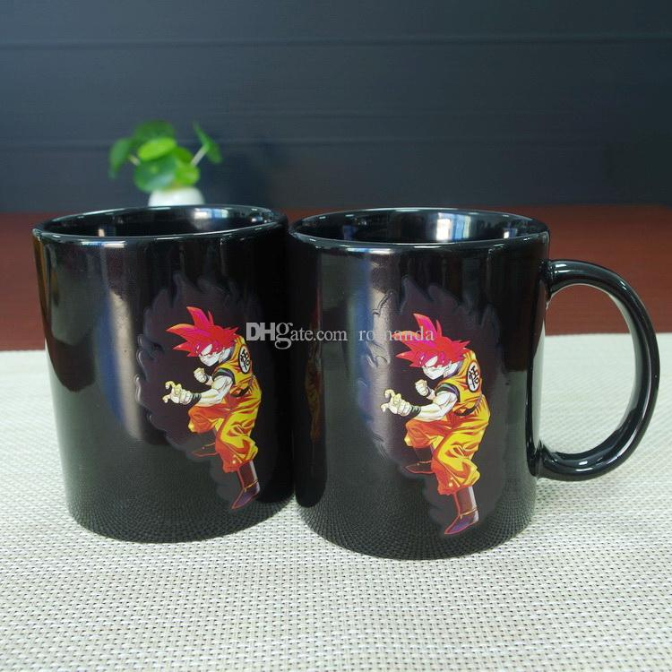 Newest design wholesale best gifts dragon ball Z Wukong Goku ceramic heat sensitive magic color changing coffee mug tea cup