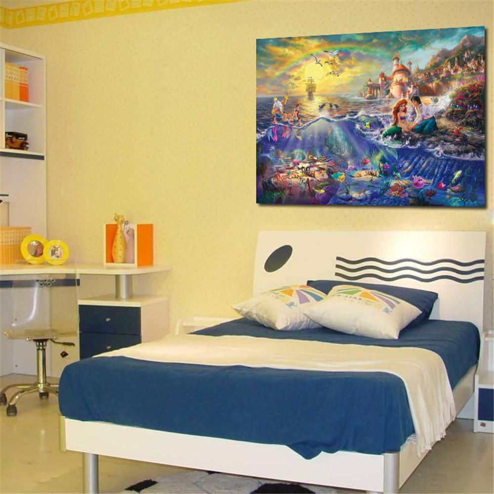 Thomas Kinkade Oil Paintings Little Mermaid Art Decor Painting Print ...