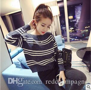 248ea515f 2019 Korean All Match Shirt Striped Sweater Long Sleeved Autumn Wind  Institute Short Sleeve Head Loose Thin Sweater Girl Q 34 From Redchampagne