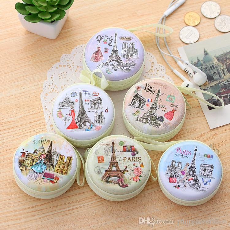 Cartoon paris eiffel tower round coin purses mini wallets purse cartoon paris eiffel tower round coin purses mini wallets purse earphone bags wallet bag christmas promotion gift negle Choice Image