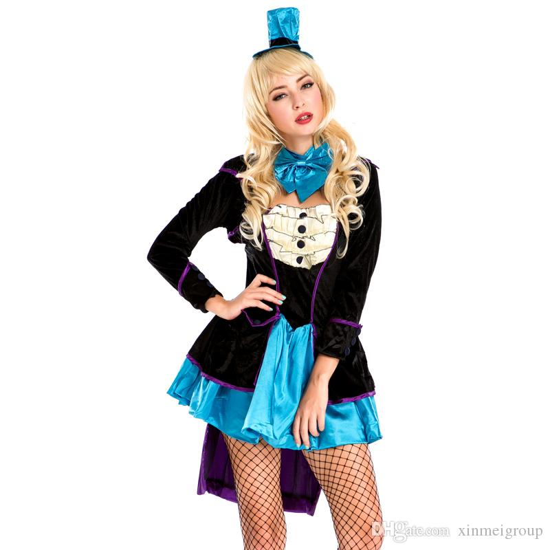 Sexy Princess Queen Cosplay Costume Adult Women Halloween Alice in Wonderland Lolita Dress Fantasia Magician Tuxedo Costume Outfits A158648