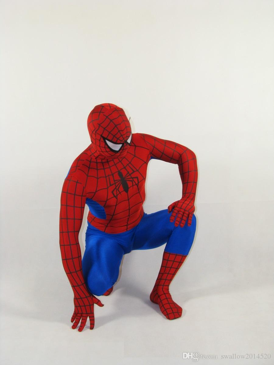 Fantastic!!! Red and navy Blue Lycra/Spandex Spiderman Hero Zentai Costume S-XXL Retail with high quality