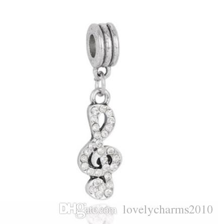 Fits Pandora Bracelets Musical Note Crystal Silver Charms Bead Dangle Charm Beads For Wholesale Diy European Sterling Necklace Jewelry