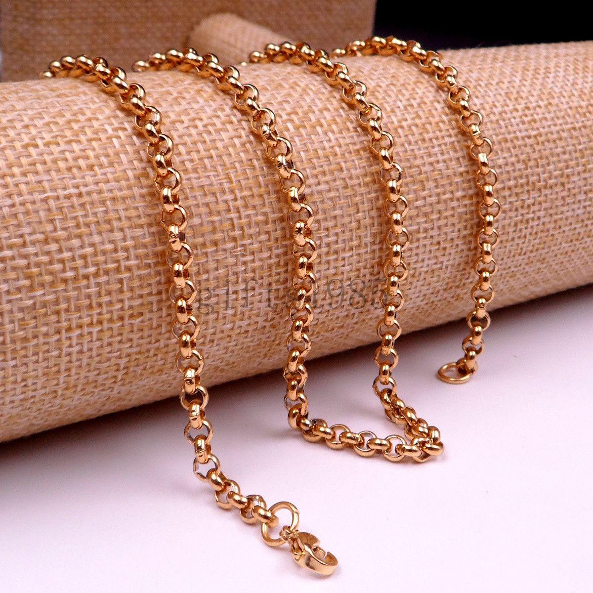 Vente chaude En Acier Inoxydable Or Rolo chaîne Collier 18-40inch bijoux chaîne charme