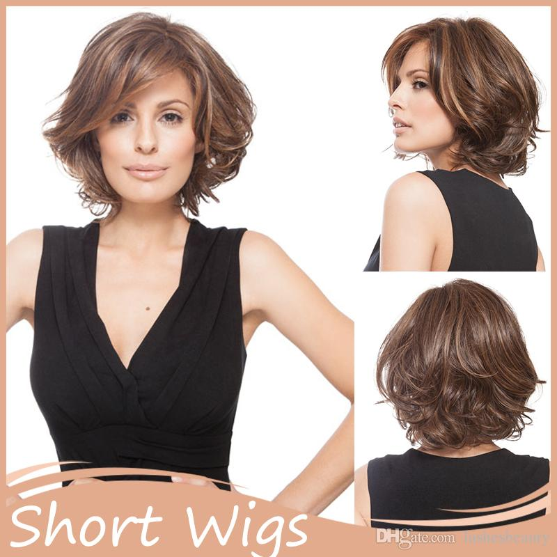 African American Short Hairstyles Wigs Wavy Synthetic Highlighted ...