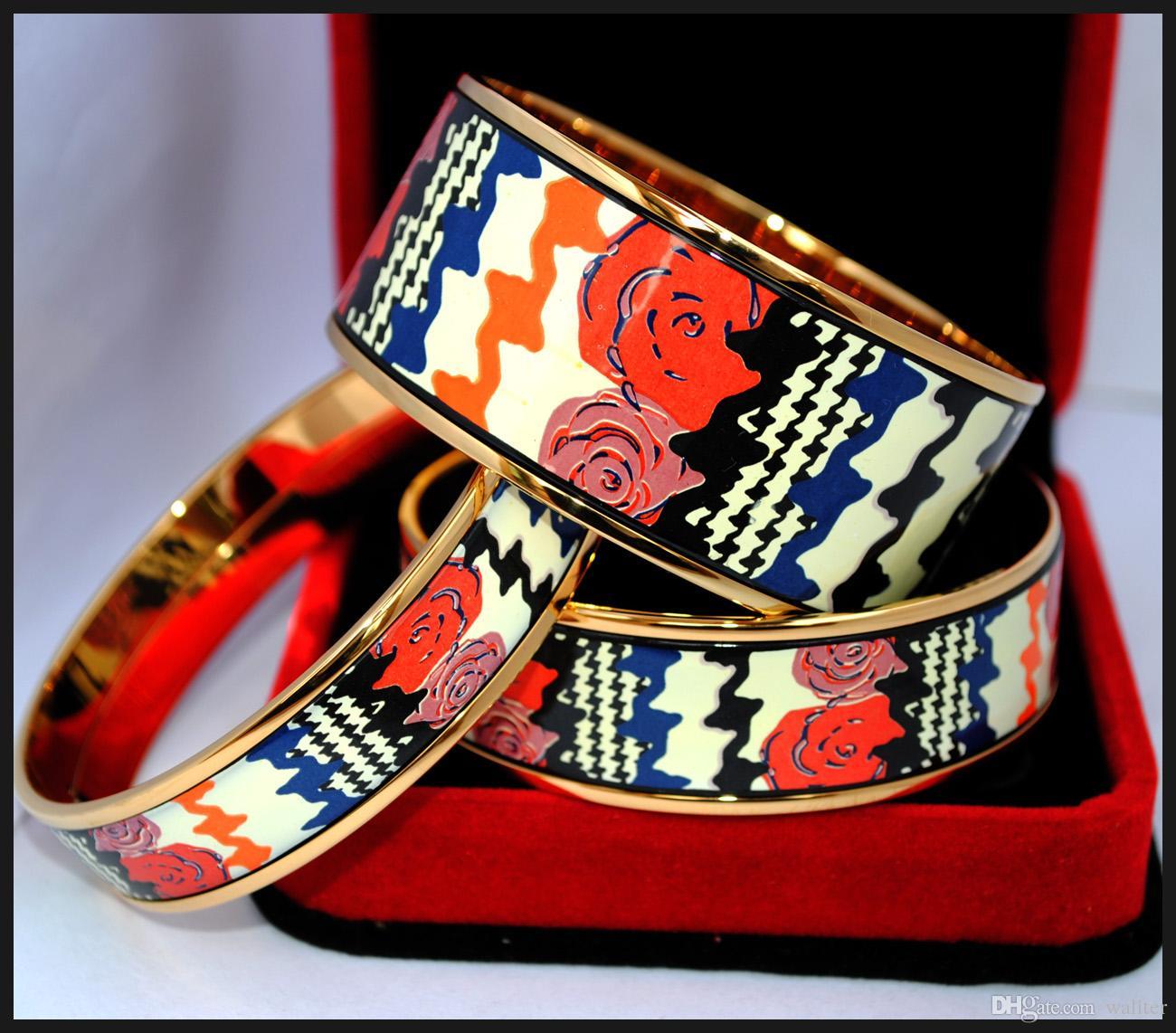 Top quality bracelets bangles width 20mm Fashion jewelryRose Series 18K gold-plated enamel bangle bracelet for woman