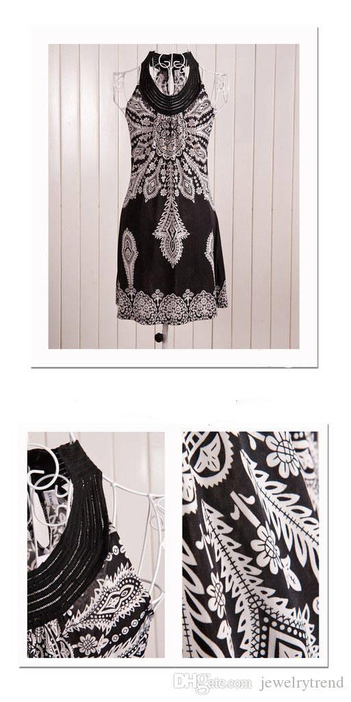 Hot Summer Bohemain Kleid Damen Totem Printed Sleeveless Sand Beach Dress Damen Vintage Short Mini Casual Kleider Schwarz