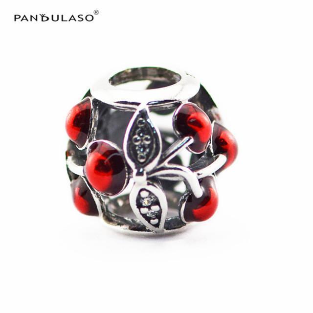 Ciondolo in argento Ciliegio con Clear CZ e smalto rosso Sterling-Silver-gioielli perline adatto a bracciali Pandora fai da te bracciali donna perline all'ingrosso