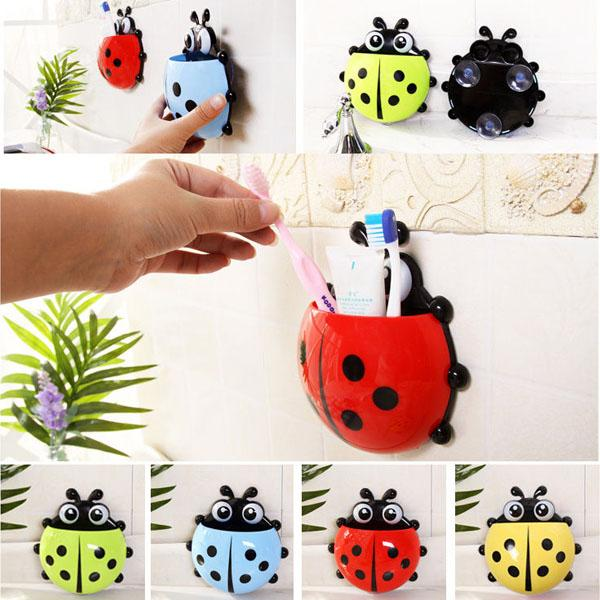 Ladybug Toothbrush Wall Suction Bathroom Sets Cartoon Sucker Toothbrush Holder
