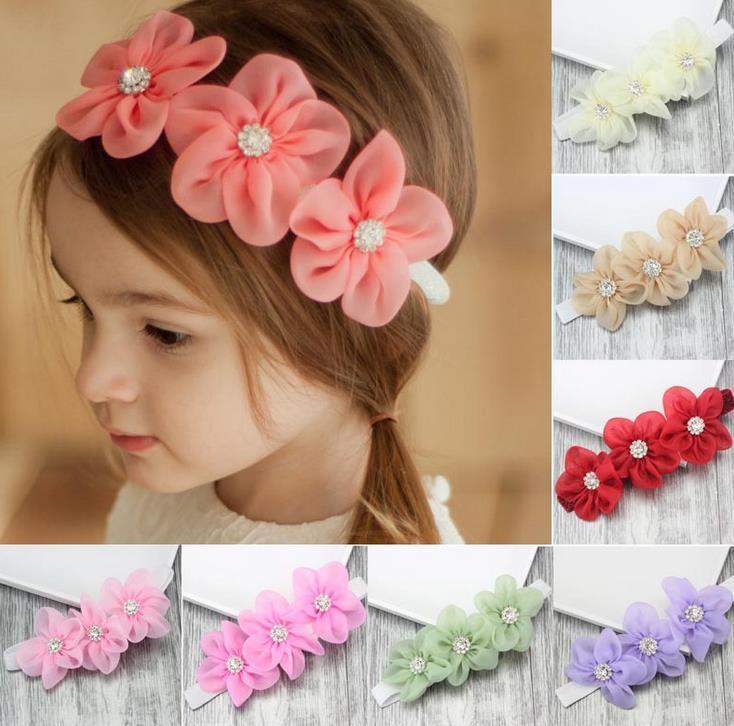 Nouvelle Europe Mode Bébé strass Fleurs Head bandes bébé Bandeau enfants Couvre-chef élastique Headwrap Enfants Accessoires cheveux