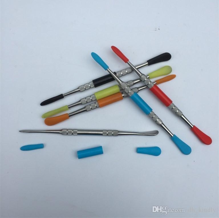 Strumenti di cera strumento di dabber cera strumento dab metallo all'ingrosso con strumenti di cera strumento dab top superiore in silicone, bastoncini dab unghie fumatori da dh_lucky store