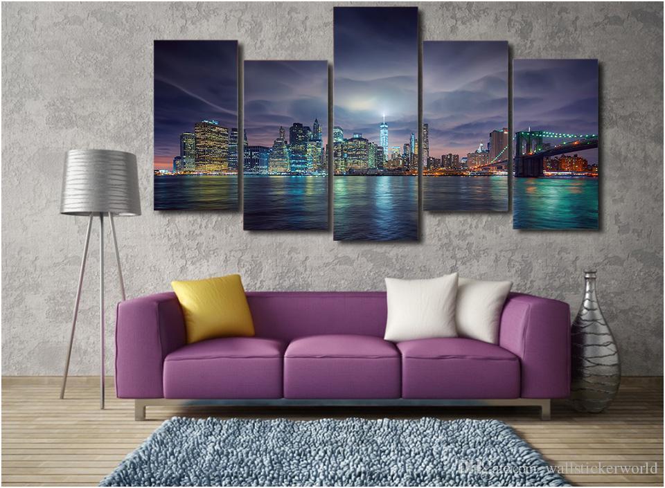 5 Adet / takım Çerçeveli Baskılı abd new york şehir gece ışıkları tuval üzerine Boyama odası dekorasyon baskı posteri resim tuval Ücretsiz nakliye / ny-4964