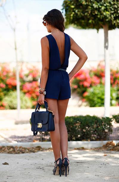 Nouvelle combinaison d'été sans manches avec poche élégante Ladies Party Romper Combi Dos Nu Dos Nu Bleu Rouge Jaune Combishort ZSJF0448