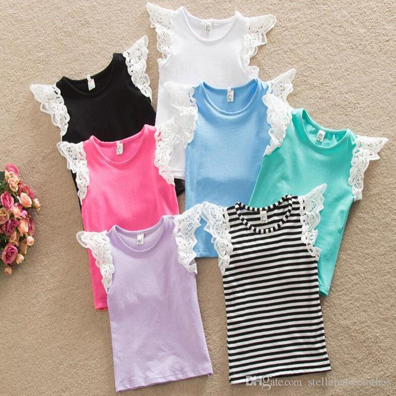 Baby Girls Lace Ruffle Sleeve Top Summer Baby Girls T-shirts Western Girls Outfit Singlet Solid Knit Cotton Baby Clothes