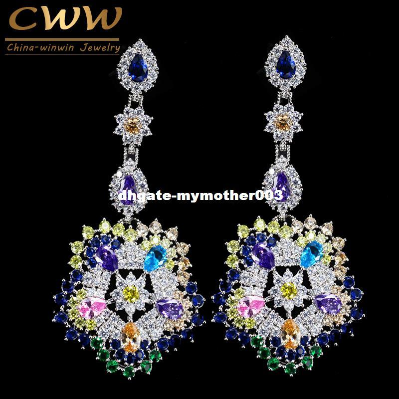 Best Quality Cwwzircons Luxury Multi Colors Cubic Zirconia Long Big Drop Earrings High Women Cz Party Costume Jewelry Cz353 At