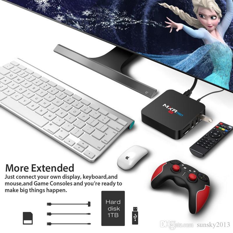 4GB 32GB TV Box Android 8.1 RK3318Quad Núcleo MXR Pro Smart Mini PC 4K 3D KD17.3 Media Player 2.4G / 5G dupla Wifi Set Top Box 4G RAM 32G ROM