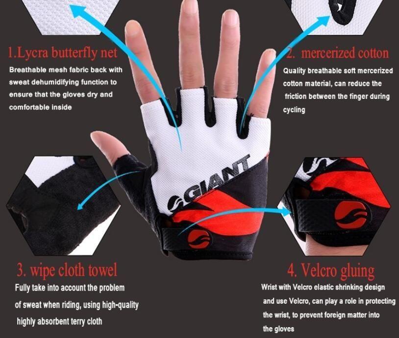 Giant Half Finger Männer Frauen Radfahren Handschuhe Slip für mtb bike / bike guantes sommer atmungsaktiv ciclismo racing luvas sport