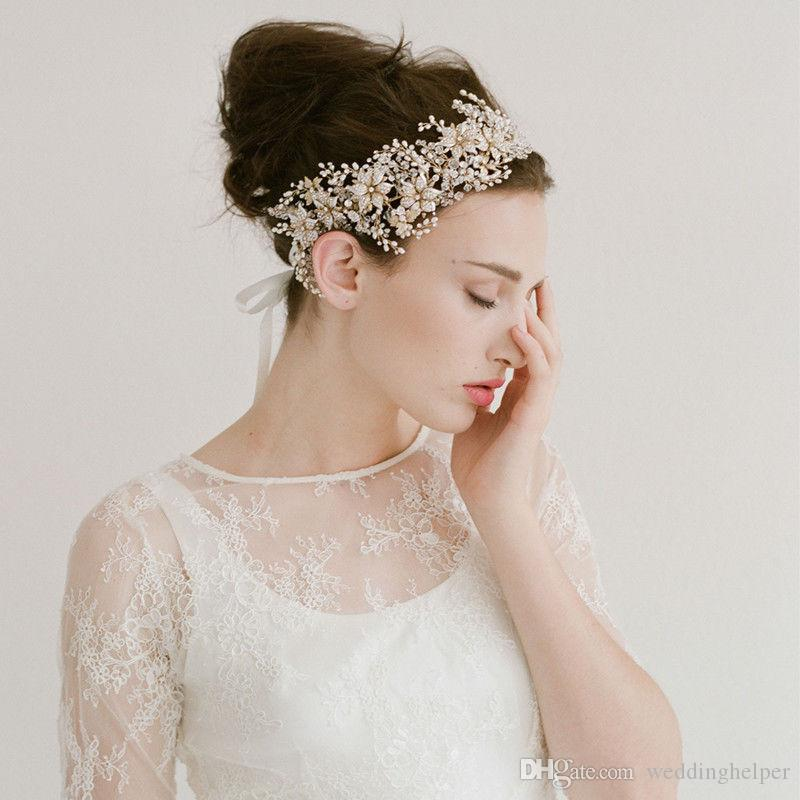 Princess Rhinestone Headband Ribbon Wedding Bridal Crown Tiara Hair  Accessories Gold Crystal Pearl Headdress Jewelry Princess Hairband Cheap  Wholesale Hair ... d7c686f7857