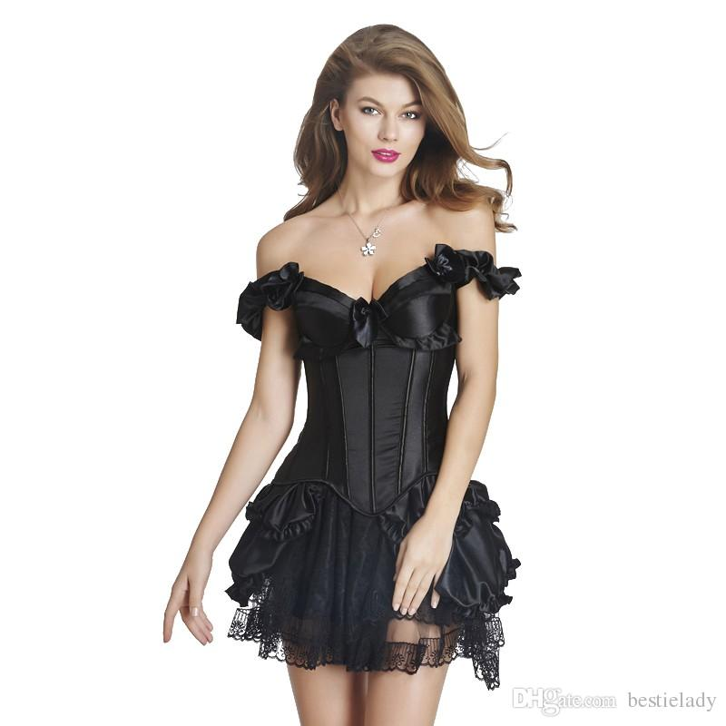 8c7c69d42f6 2019 Women Burlesque Clubwear Halter Overbust Corset With Elasticated  Ruffled Sleeves And Frilly Layered Lace Tutu Skirt Halloween Costume From  Bestielady