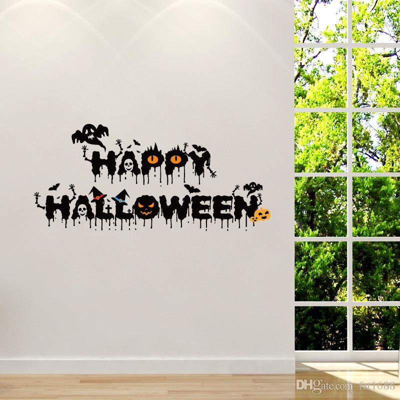 1027 Halloween Festival Crow Little Devil Wall Stickers Ghost Pumpkin Happy Halloween Quote Wall Decals Home Decor For Living Room