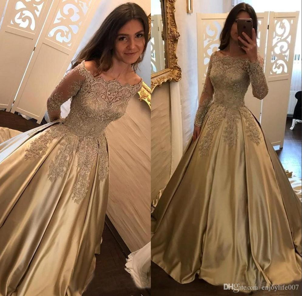 2018 Elegant Prom Dresses Off The Shoulder A Line Long Sleeves ...