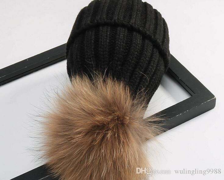 Quality Removable Real Mink Fox Fur Pom Poms Ball Acrylic Beanies Winter Warm Plain Hats Adults Slouchy Mens Womens Snow Warm Hat Free EMS