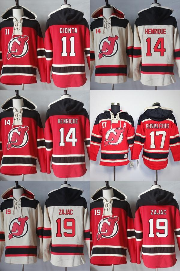 online store 74855 fb212 Cheap Mens Womens Kids New Jersey Devils 11 Stephen Gionta 14 Adam Henrique  17 Ilya Kovalchuk 19 Travis Zajac Beige Red Ice Hockey Hoodies