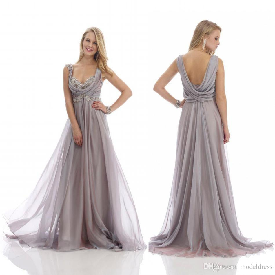 2019 New Gray Beach Mother of the Bride Dresses Sweetheart Appliques Empire Waist Backless Floor Length 30D Chiffon Summer Mother Gown Cheap