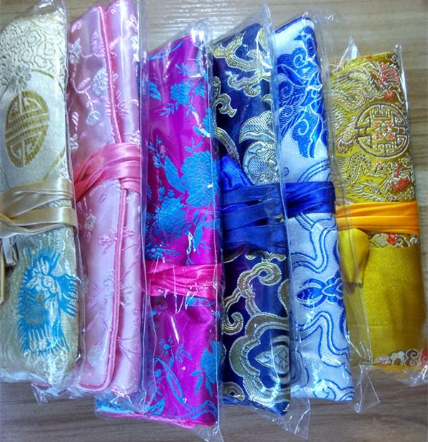 Folding Luxury Silk Brocade Jewelry Roll n go Cosmetic Bag Travel Ladies Drawstring Makeup Storage Bag Pouch