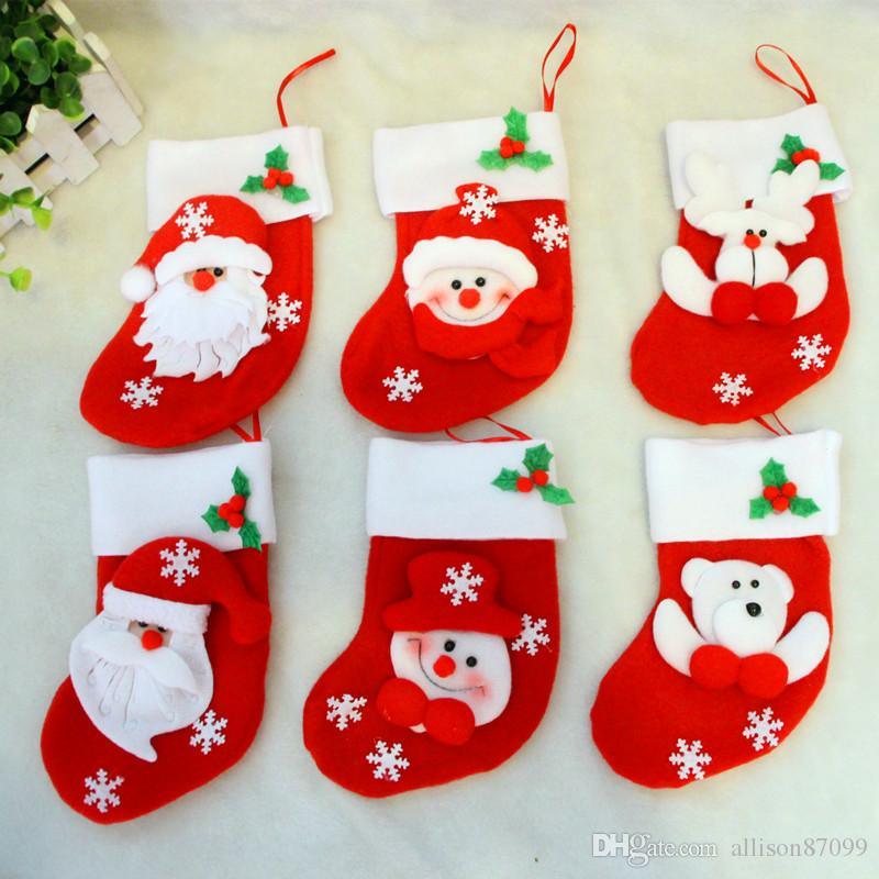 christmas decorations knife and fork cover gifts bags stocking socks santa claus wholesale 2017 canvas christmas xmas stockings outdoor christmas present - Christmas Socks Decoration