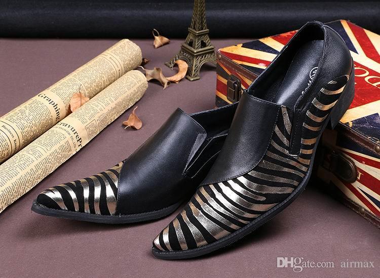 Nova Chegada de Luxo Mens Lazer Sapatos De Couro Moda Zebra Padrão de Ouro E Prata Apontou Toe Palco Jogando Show de Sapatos