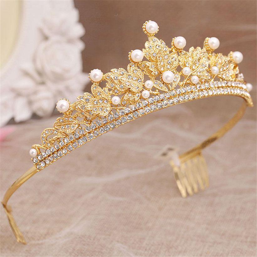 Wholesale Princess Queen Crown Tiara Wedding Bridal Headpiece Hari Comb Crystal Rhinestone Headband Gold Leaf Pearl Headdress Jewelry Clips