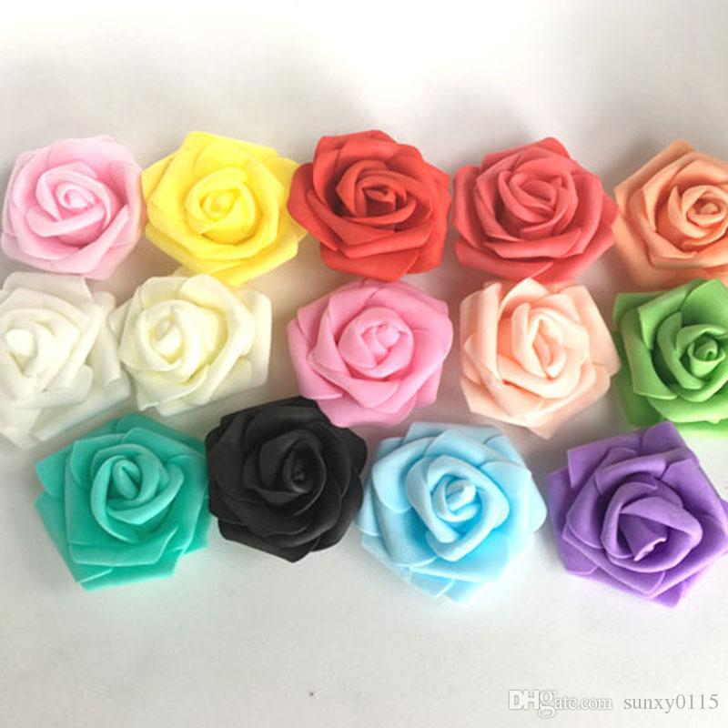 Wholesale Free Shipping 100pcs PE ROSE Handmade Artificial Foam Rose Flower Heads For Wedding Decoration Kissing Ball 7cm