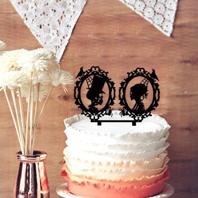 Chic Halloween Cake Topper Design, Skeleton Cameo Silhouette Wedding ...
