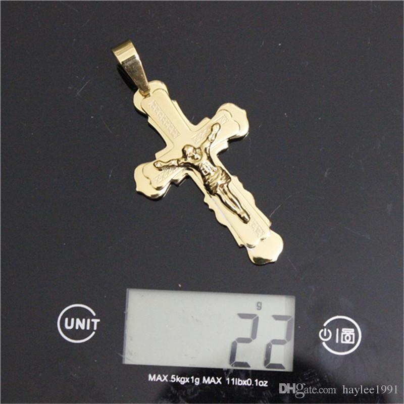 / Newesr verblassen nicht goldene überzogene Kreuz-glückliche hängende Edelstahl-Art- und Weiseschmucksache-Radfahrer-Jesus-Kreuz-Anhänger