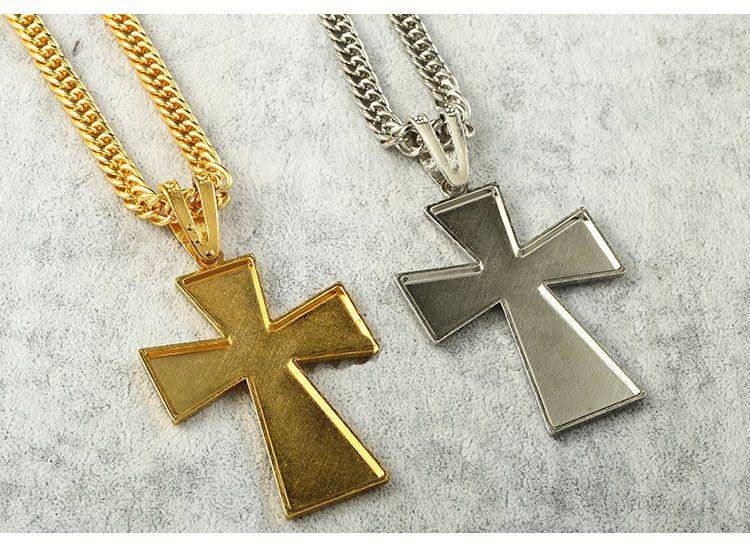 Mens hip hop Rapper Geometrische 18K Gold versilbert Iced Out Kristall schwarz Jesus Große Kreuz Schlangenkette Anhänger Halsketten Frauen Männer Schmuck