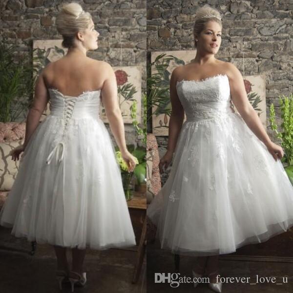 2d7d610c890 Discount Gorgeous Plus Size Tea Length Dresses A Line Short Casual Beach  Garden Wedding Dress Bridal Gowns Strapless Lace Appliques Brides Wear A  Line ...
