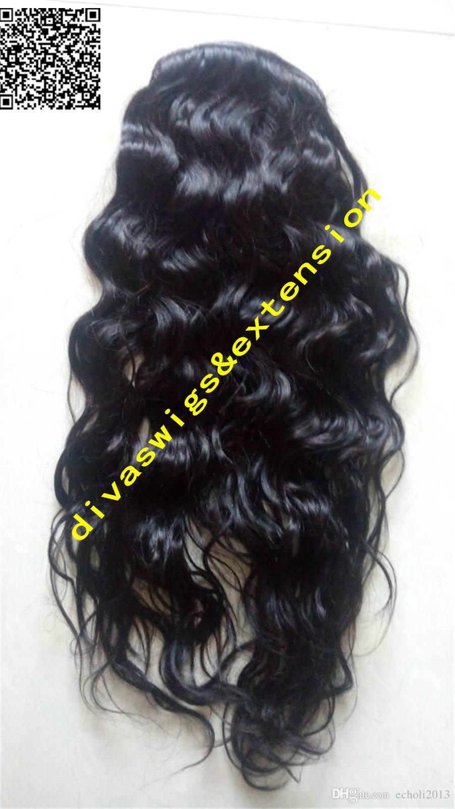 New Arrival Human Hair Ponytail Clip On Loose Wave Brown Brazilian Virgin Hair natural wavy Pony tail Hair Extensions #2 dark brown