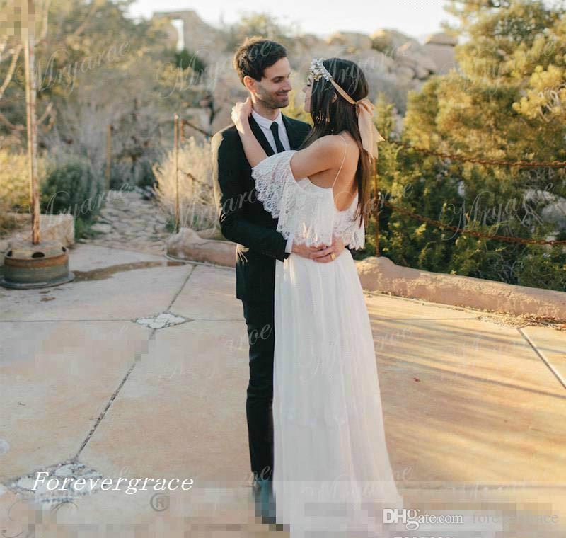 2017 Neu Entworfen Bohemian Beach Lace Chiffon Hochzeitskleid Lange Schwangere Frauen Country Style Western Brautkleid Nach Maß Plus Größe
