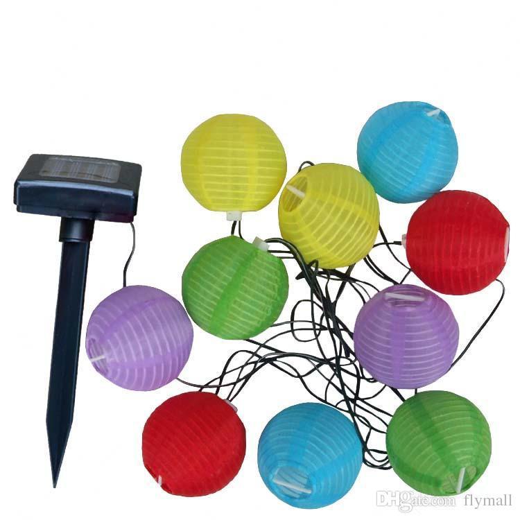 10 LED Solarbetriebene Lampe Solar Chinesische Laternen Garten Lichterketten Lampe für Weihnachten Hochzeit Urlaub Dekoration Weiß Bunt
