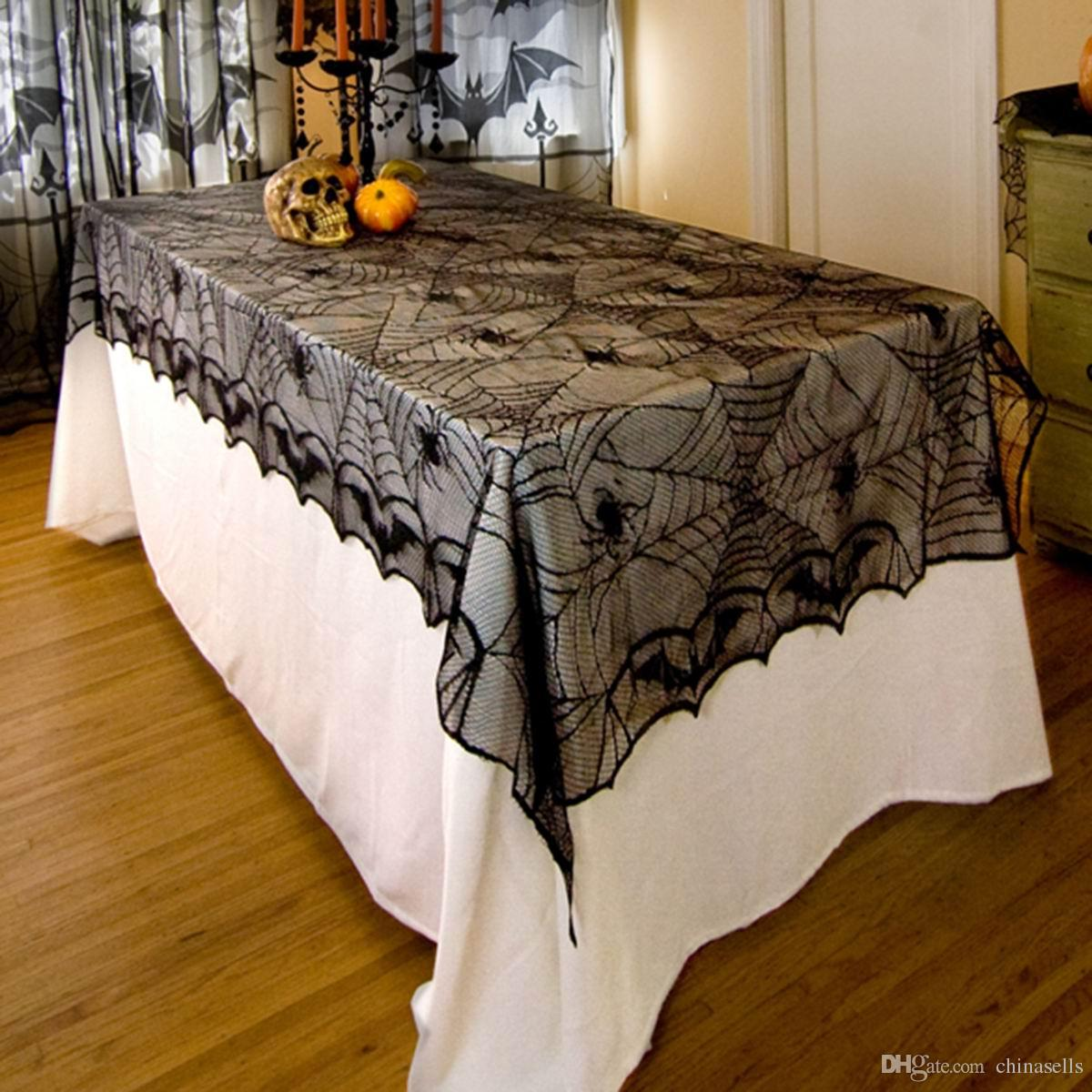 Halloween party decoration haunted bar props home decoration tablecloth Tablecover Black Lace Spider web Table clothes