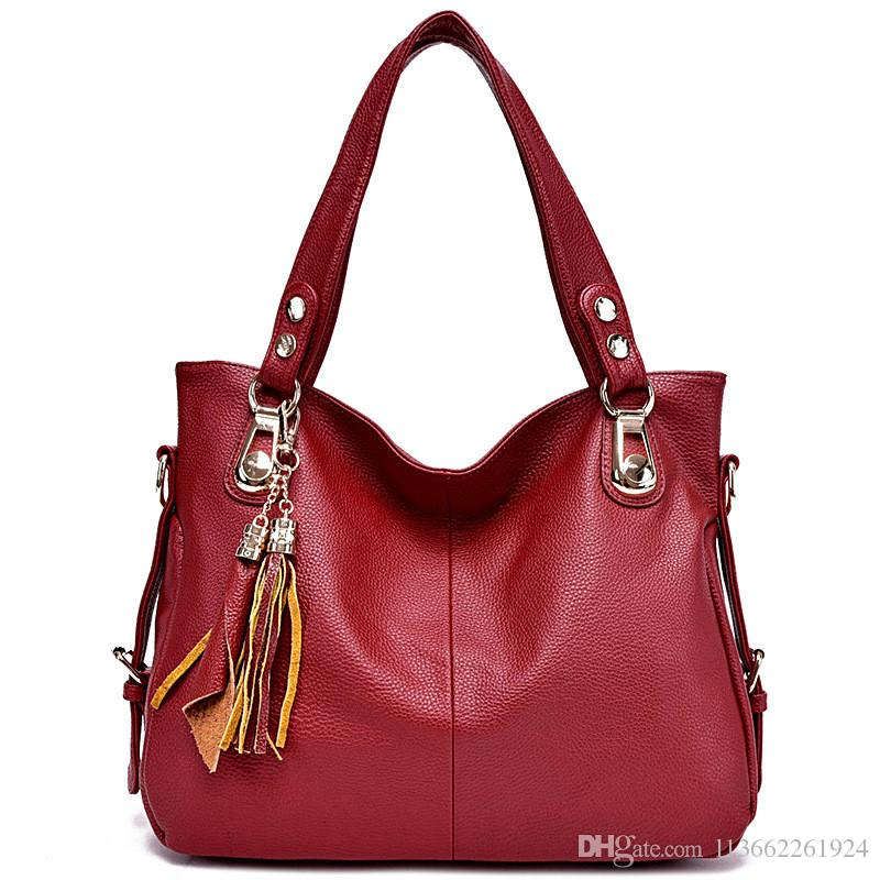07a008d6327d Soft Leather Shoulder Bags For Womens Black Leather Handbag With Shoulder  Strap Ladies Leather Shoulder Handbags Cute Purses Rosetti Handbags From ...