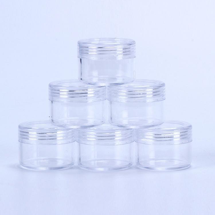 Frasco 15ml de plástico Cosmetic Container Com Screwed Lid 15Gram Mini vazio Pot EYESHADOW Unhas pó Beads Jóias Garrafa Creme Wax