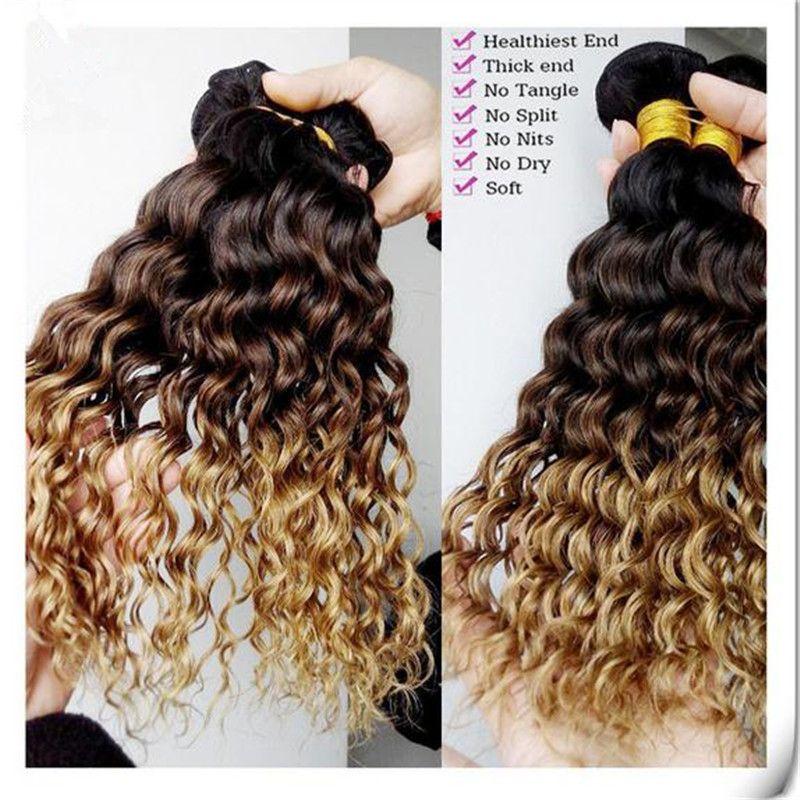 Péruvienne Profonde Bouclés Vague 1B / 4/27 Miel Blonde Ombre de Cheveux Humains Trois Tons de Cheveux Humains Weave Pas Cher Péruvienne de Cheveux Humains Bundles