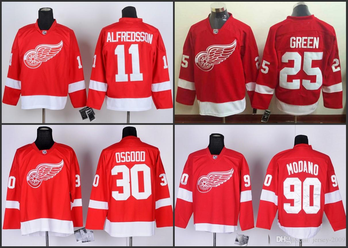 d7e6fe0e1 Cheap Detroit 30 Chris Osgood 11 Daniel Alfredsson 25 Mike Green 90 Mike  Modano Red Home Red Wings Nhl Ice Hockey Stitched Jerseys UK 2019 From  Jersey 2009