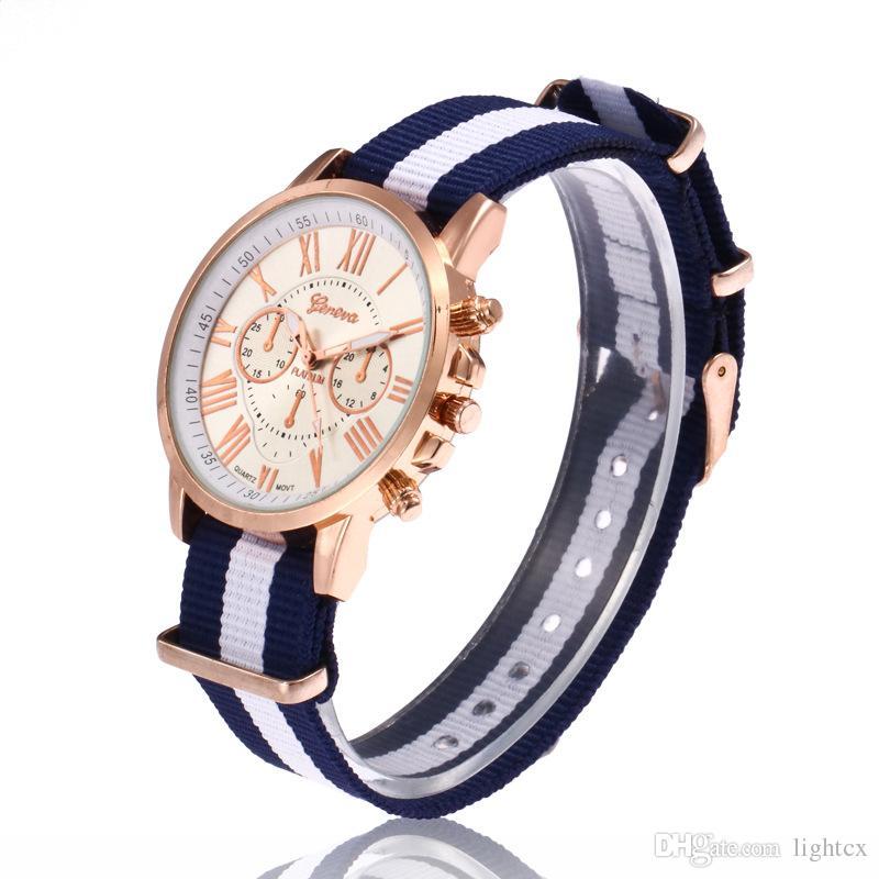 Fashion Geneva watches Nylon Watches Men Women Roman numerals Big Dial Casual Sport Clock Male Quartz Wrist Watch
